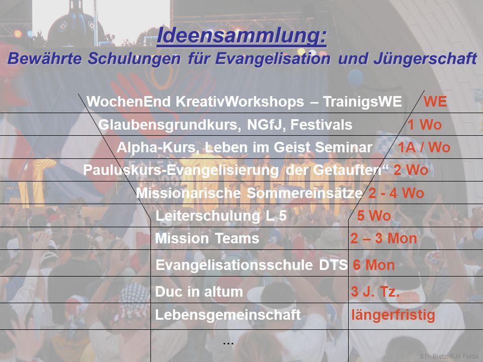 Ideensammlung: Bewährte Schulungen für Evangelisation und Jüngerschaft WochenEnd KreativWorkshops – TrainigsWE WE Glaubensgrundkurs, NGfJ, Festivals 1