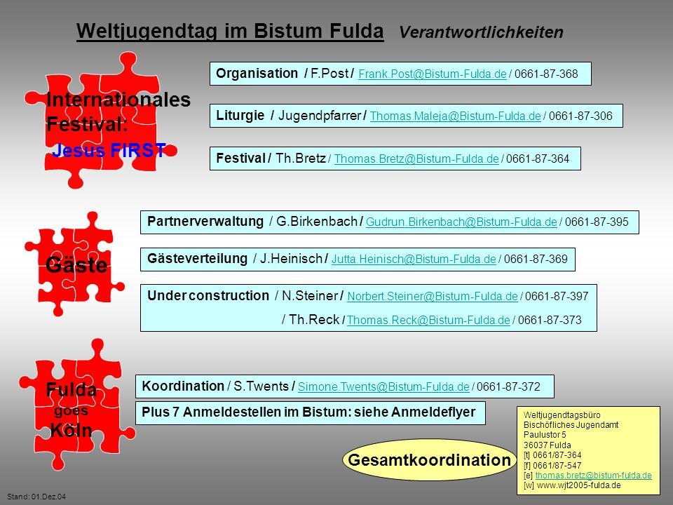 Internationales Festival: Gäste Fulda goes Köln Weltjugendtag im Bistum Fulda Verantwortlichkeiten Jesus FIRST Organisation / F.Post / Frank.Post@Bist