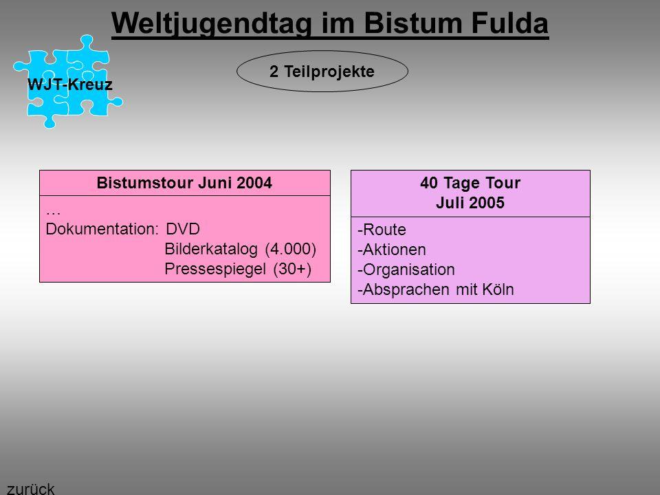 Weltjugendtag im Bistum Fulda WJT-Kreuz Bistumstour Juni 2004 … Dokumentation: DVD Bilderkatalog (4.000) Pressespiegel (30+) 40 Tage Tour Juli 2005 -R