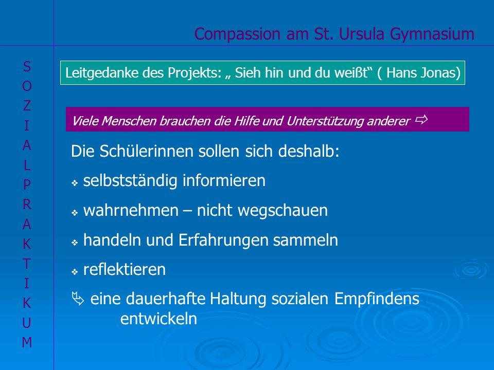 Compassion am St. Ursula Gymnasium SOZIALPRAKTIKUMSOZIALPRAKTIKUM Ziele unseres Compassion-Projektes Die Schülerinnen sollen sich deshalb: selbstständ