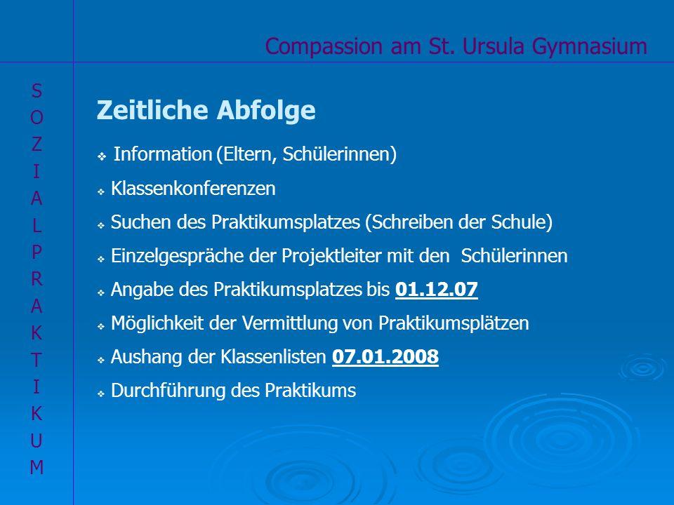 Compassion am St. Ursula Gymnasium SOZIALPRAKTIKUMSOZIALPRAKTIKUM Zeitliche Abfolge Information (Eltern, Schülerinnen) Klassenkonferenzen Suchen des P