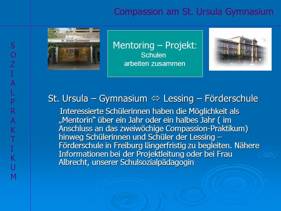 St. Ursula – Gymnasium Lessing – Förderschule Interessierte Schülerinnen haben die Möglichkeit als Mentorin über ein Jahr oder ein halbes Jahr ( im An