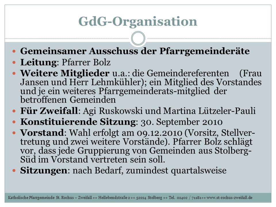 GdG-Organisation Gemeinsamer Ausschuss der Pfarrgemeinderäte Leitung: Pfarrer Bolz Weitere Mitglieder u.a.: die Gemeindereferenten (Frau Jansen und He