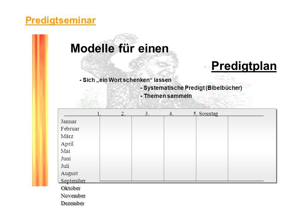 Modelle für einen Predigtplan - Sich ein Wort schenken lassen - Systematische Predigt (Bibelbücher) - Themen sammeln - Die Praxis in Trier 1.2.3.4.5.