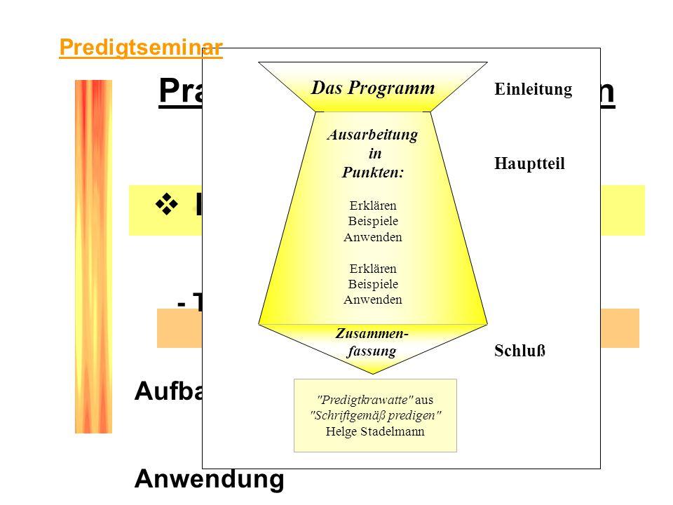 Praktische Voraussetzungen Inhaltlich - Thema - Aufbau - Anwendung - Wie bereitet man sich vor? Einleitung Hauptteil Schluß Das Programm Ausarbeitung