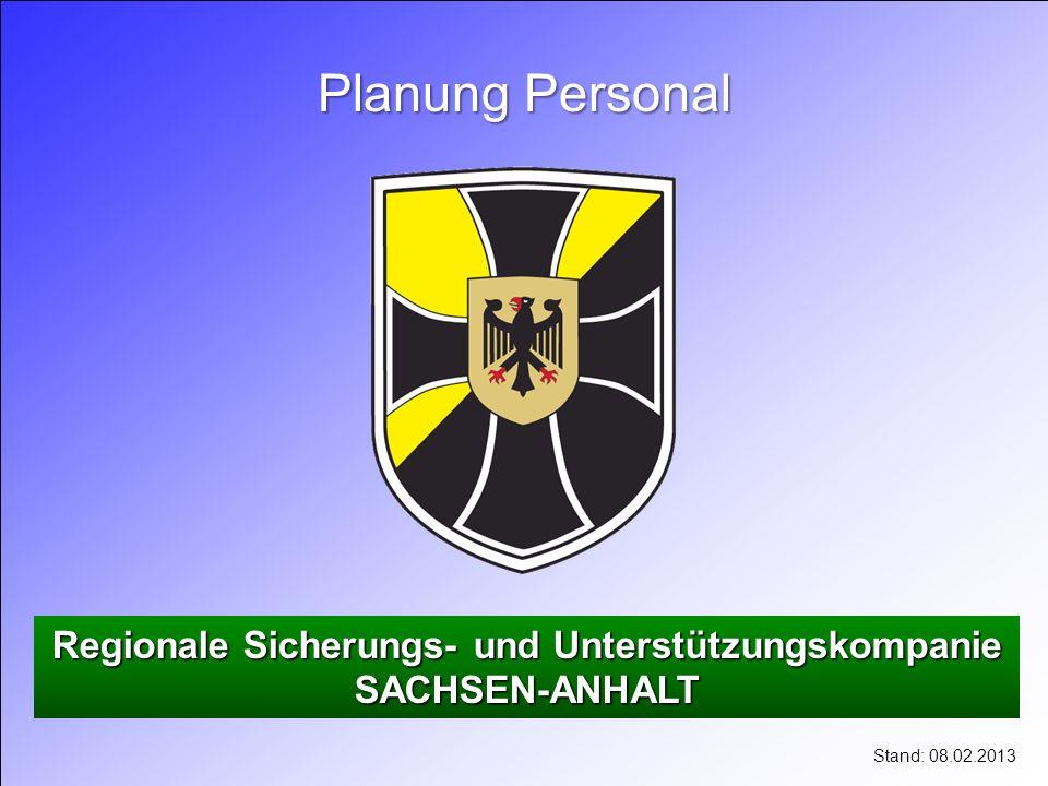 Regionale Sicherungs- und Unterstützungskompanie SACHSEN-ANHALT Planung Personal Stand: 08.02.2013