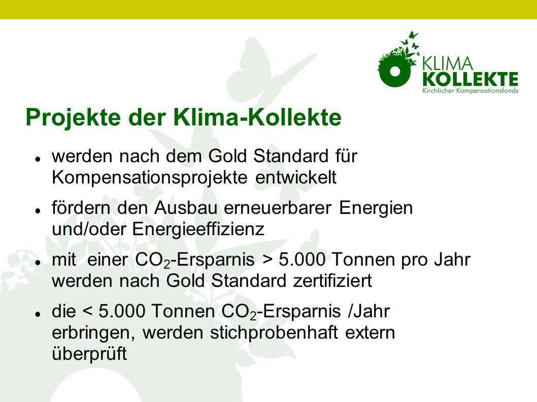 Projekte der Klima-Kollekte werden nach dem Gold Standard für Kompensationsprojekte entwickelt fördern den Ausbau erneuerbarer Energien und/oder Energ