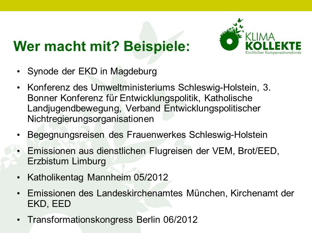 Wer macht mit? Beispiele: Synode der EKD in Magdeburg Konferenz des Umweltministeriums Schleswig-Holstein, 3. Bonner Konferenz für Entwicklungspolitik