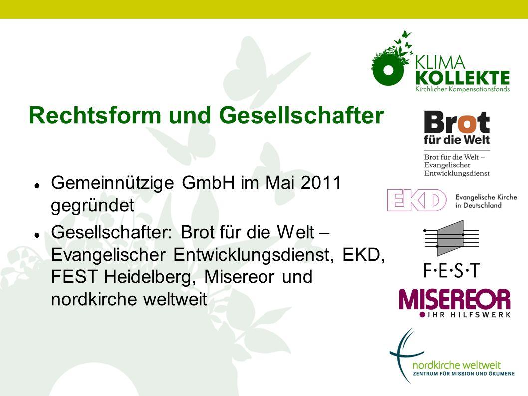 Rechtsform und Gesellschafter Gemeinnützige GmbH im Mai 2011 gegründet Gesellschafter: Brot für die Welt – Evangelischer Entwicklungsdienst, EKD, FEST