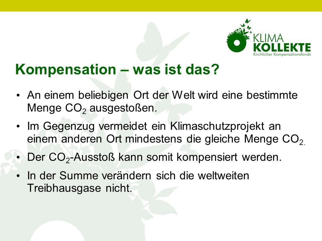 Kompensation – was ist das? An einem beliebigen Ort der Welt wird eine bestimmte Menge CO 2 ausgestoßen. Im Gegenzug vermeidet ein Klimaschutzprojekt