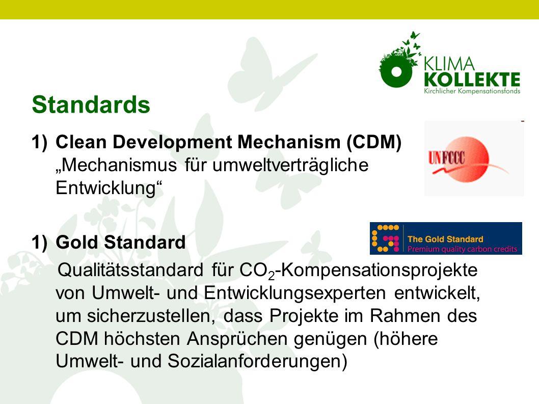 1)Clean Development Mechanism (CDM) Mechanismus für umweltverträgliche Entwicklung 1)Gold Standard Qualitätsstandard für CO 2 -Kompensationsprojekte v