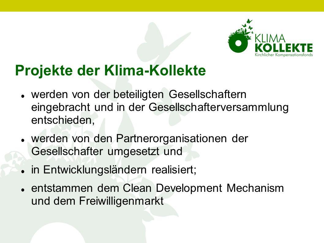 Projekte der Klima-Kollekte werden von der beteiligten Gesellschaftern eingebracht und in der Gesellschafterversammlung entschieden, werden von den Pa