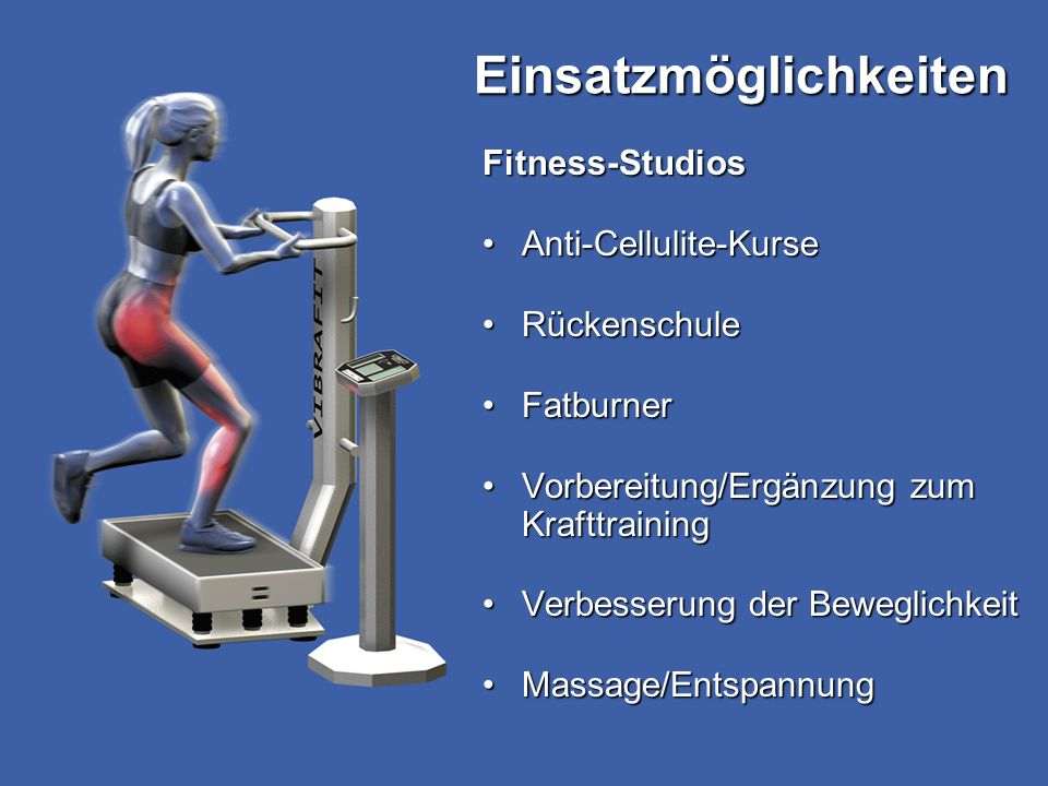 Fitness-Studios Anti-Cellulite-KurseAnti-Cellulite-Kurse RückenschuleRückenschule FatburnerFatburner Vorbereitung/Ergänzung zum KrafttrainingVorbereit