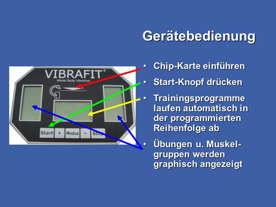 Gerätebedienung Chip-Karte einführenChip-Karte einführen Start-Knopf drückenStart-Knopf drücken Trainingsprogramme laufen automatisch in der programmi