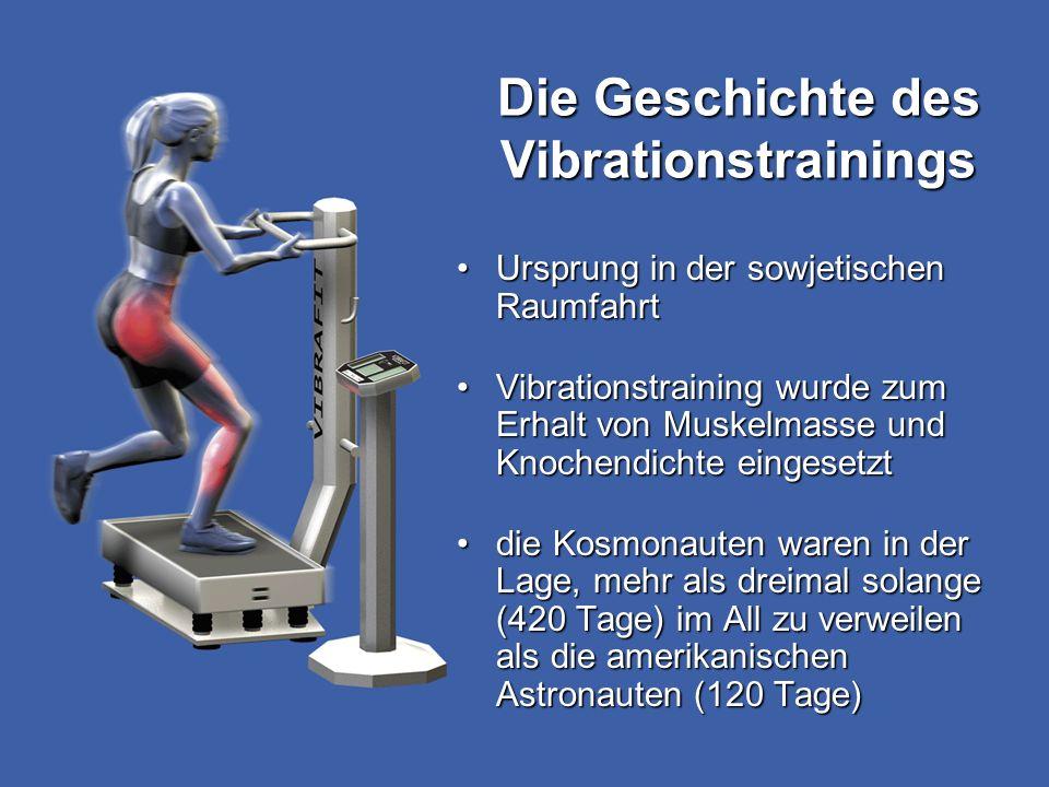 Ursprung in der sowjetischen RaumfahrtUrsprung in der sowjetischen Raumfahrt Vibrationstraining wurde zum Erhalt von Muskelmasse und Knochendichte ein