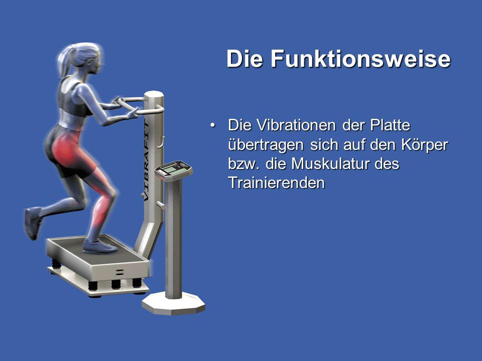 Die Funktionsweise Die Vibrationen der Platte übertragen sich auf den Körper bzw. die Muskulatur des TrainierendenDie Vibrationen der Platte übertrage