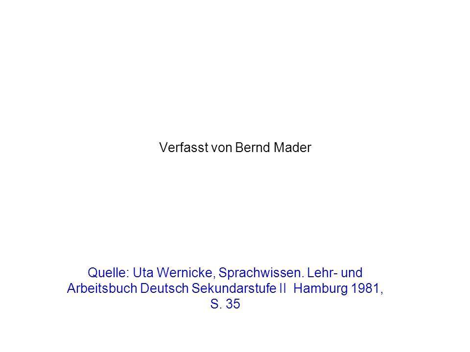 Verfasst von Bernd Mader Quelle: Uta Wernicke, Sprachwissen. Lehr- und Arbeitsbuch Deutsch Sekundarstufe II Hamburg 1981, S. 35