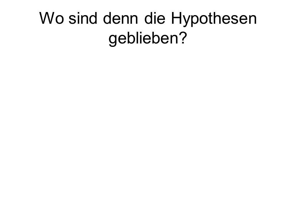 Wo sind denn die Hypothesen geblieben?