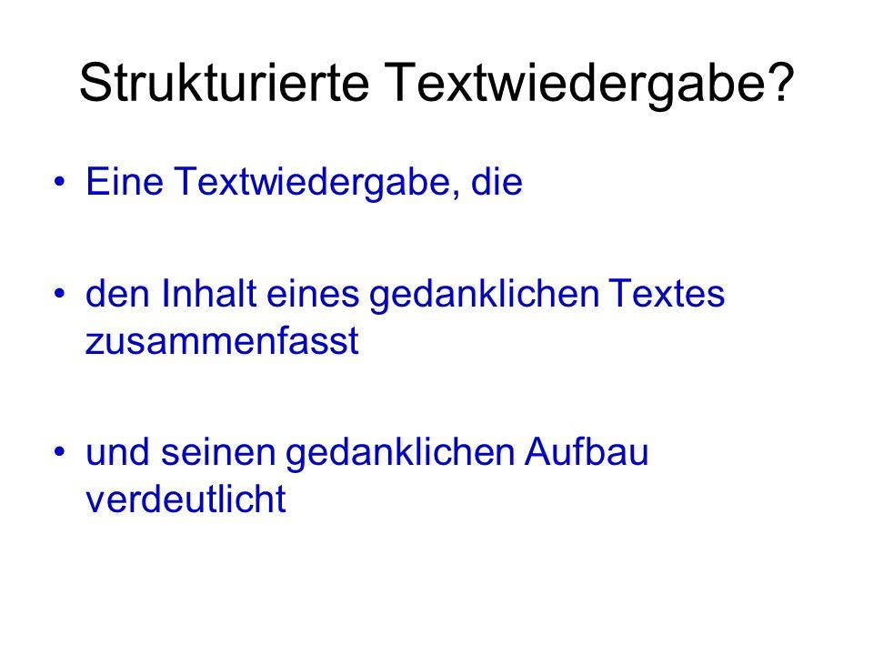 Strukturierte Textwiedergabe? Eine Textwiedergabe, die den Inhalt eines gedanklichen Textes zusammenfasst und seinen gedanklichen Aufbau verdeutlicht