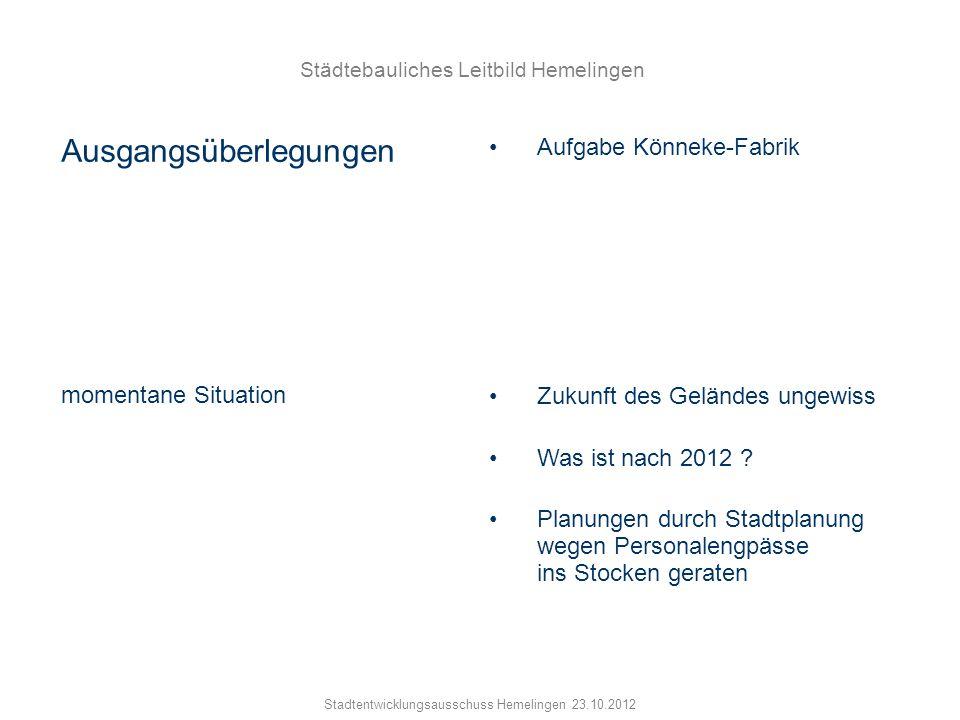 Städtebauliches Leitbild Hemelingen Stadtentwicklungsausschuss Hemelingen 23.10.2012 Ausgangsüberlegungen Aufgabe Könneke-Fabrik momentane Situation Z