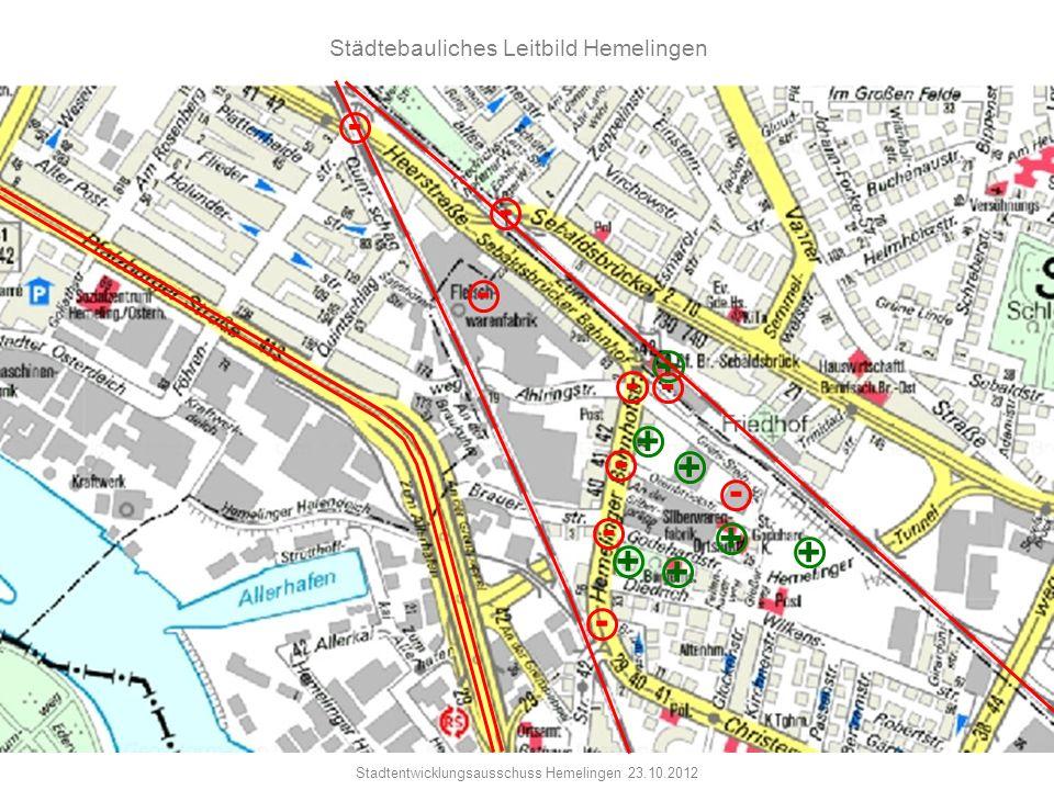 Stadtentwicklungsausschuss Hemelingen 23.10.2012 Städtebauliches Leitbild Hemelingen + - + + + + + - - - - - + - - -