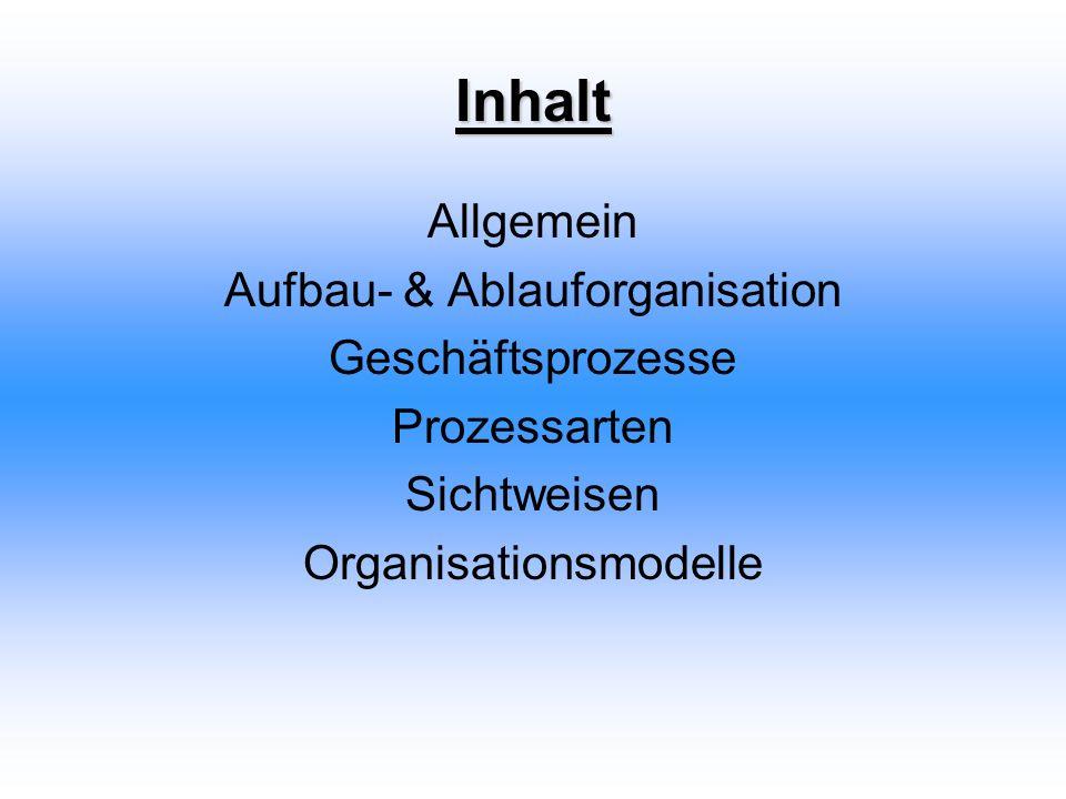 Inhalt Allgemein Aufbau- & Ablauforganisation Geschäftsprozesse Prozessarten Sichtweisen Organisationsmodelle