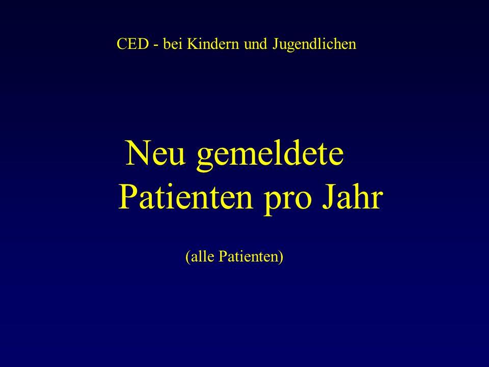 CED - bei Kindern und Jugendlichen Neu gemeldete Patienten pro Jahr (alle Patienten)