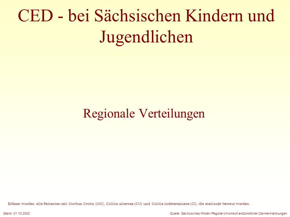 CED - bei Sächsischen Kindern und Jugendlichen Regionale Verteilungen Erfasst wurden alle Patienten mit Morbus Crohn (MC), Colitis ulcerosa (CU) und C