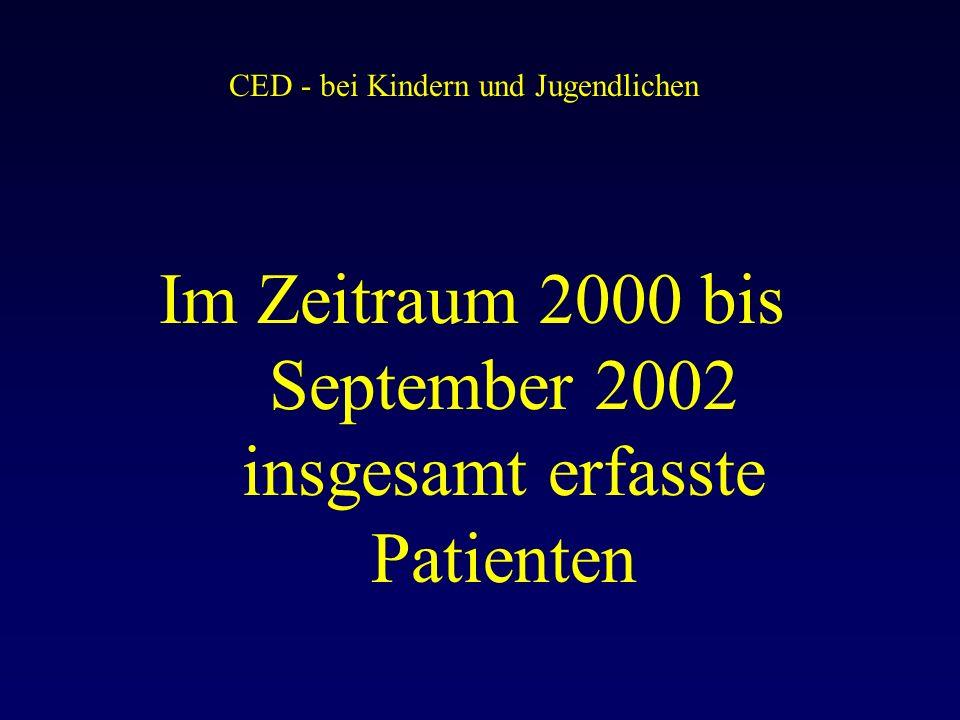 CED - bei Kindern und Jugendlichen Im Zeitraum 2000 bis September 2002 insgesamt erfasste Patienten