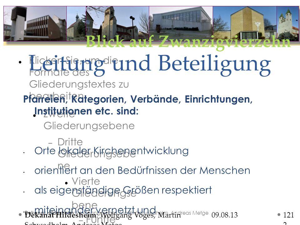 Blick auf Zwanzigvierzehn Klicken Sie, um die Formate des Gliederungstextes zu bearbeiten Zweite Gliederungsebene Dritte Gliederungsebe ne Vierte Gliederungse bene Fünfte Gliederung sebene Sechste Gliederung sebene Siebente Gliederung sebene Achte Gliederung sebene Neunte GliederungsebeneText masterformat bearbeiten o Zweite Ebene Dritte Ebene o Vierte Ebene Fünfte Ebene 09.08.13 Dekanat Hildesheim : Wolfgang Voges, Martin Schwedhelm, Andreas Metge Leitung und Beteiligung 121212 Pfarreien, Kategorien, Verbände, Einrichtungen, Institutionen etc.