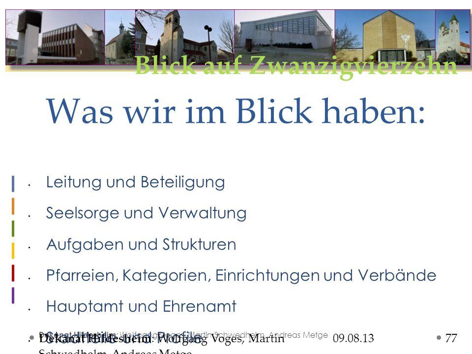 Blick auf Zwanzigvierzehn 09.08.13 Dekanat Hildesheim : Wolfgang Voges, Martin Schwedhelm, Andreas Metge Leitung und Beteiligung Dekanatsleitung Ltd.