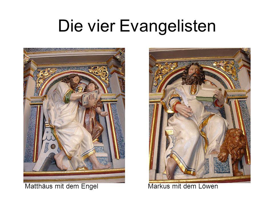 Die vier Evangelisten Markus mit dem LöwenMatthäus mit dem Engel