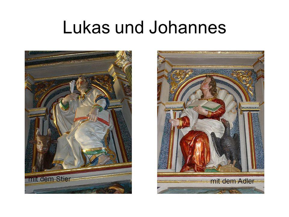 Lukas und Johannes mit dem Adler mit dem Stier