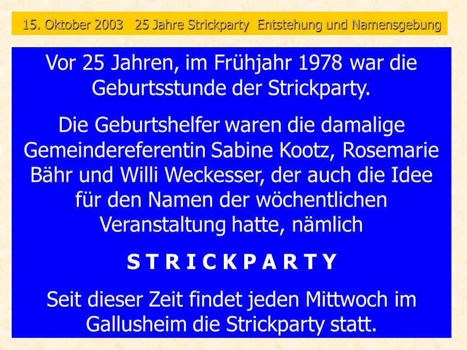 1998 Fasching 20 Jahre Strickparty
