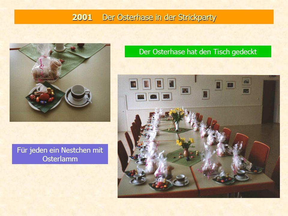 2001 Der Osterhase in der Strickparty Der Osterhase hat den Tisch gedeckt Für jeden ein Nestchen mit Osterlamm