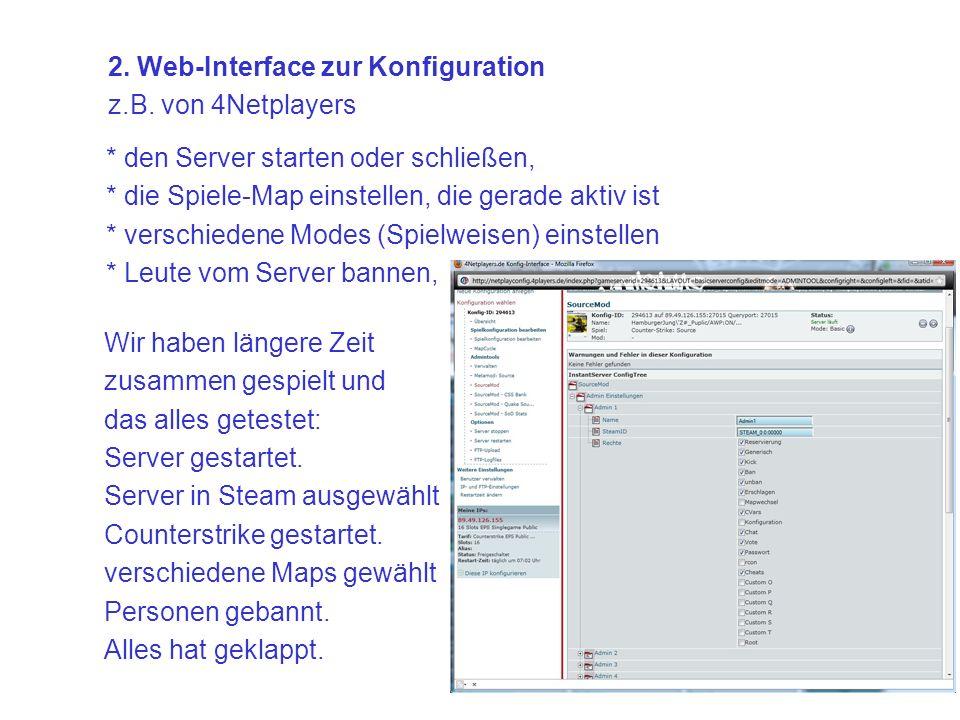 2. Web-Interface zur Konfiguration z.B.