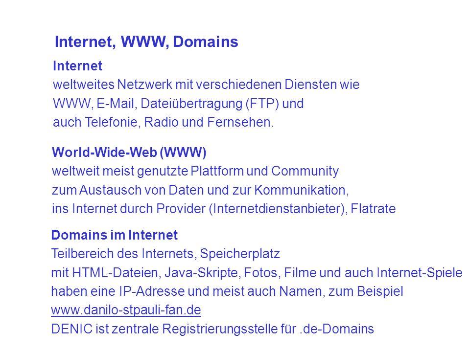Internet weltweites Netzwerk mit verschiedenen Diensten wie WWW, E-Mail, Dateiübertragung (FTP) und auch Telefonie, Radio und Fernsehen.