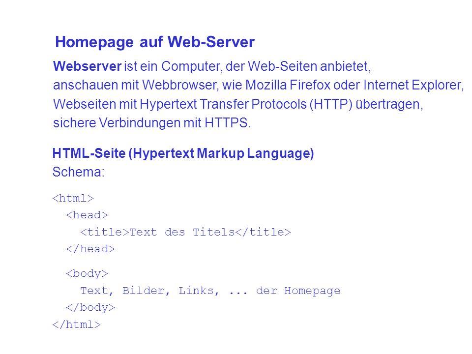 Webserver ist ein Computer, der Web-Seiten anbietet, anschauen mit Webbrowser, wie Mozilla Firefox oder Internet Explorer, Webseiten mit Hypertext Transfer Protocols (HTTP) übertragen, sichere Verbindungen mit HTTPS.