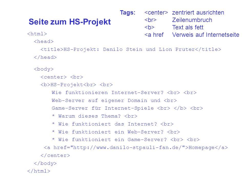 Seite zum HS-Projekt HS-Projekt: Danilo Stein und Lion Pruter HS-Projekt Wie funktionieren Internet-Server.