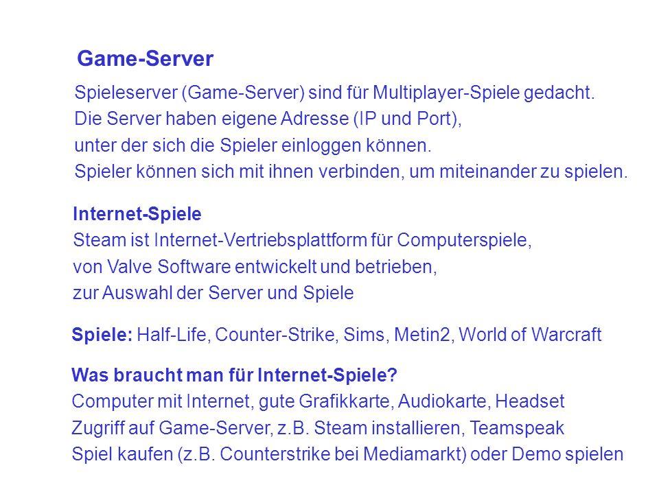 Spieleserver (Game-Server) sind für Multiplayer-Spiele gedacht.