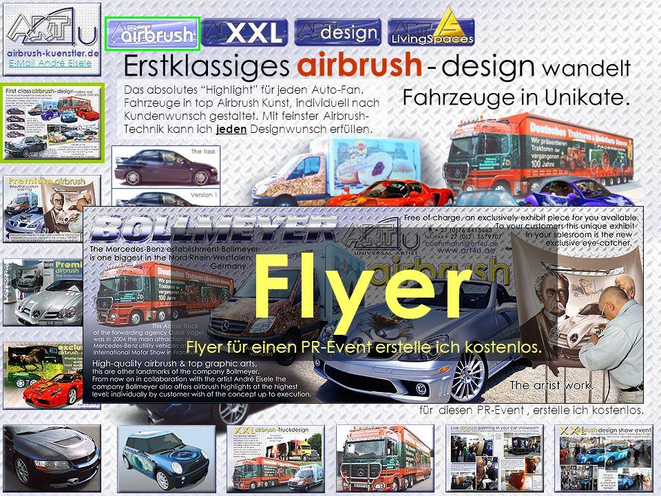 Das absolutes Highlight für jeden Auto-Fan. Fahrzeuge in top Airbrush Kunst, individuell nach Kundenwunsch gestaltet. Mit feinster Airbrush- Technik k