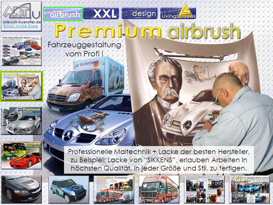 Fahrzeuggestaltung vom Profi ! Professionelle Maltechnik + Lacke der besten Hersteller, zu Beispiel: Lacke von SIKKENS, erlauben Arbeiten in höchsten