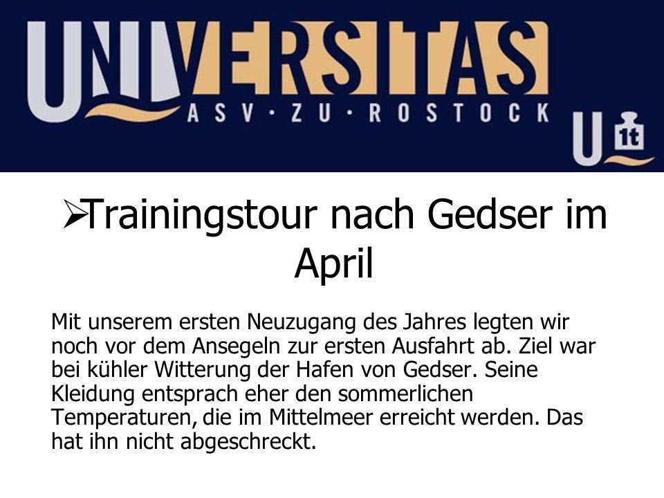 Regelmäßiges Training zur Mittwochsregatta vor Warnemünde Fast jeden Mittwoch haben wir gegen 17.00 Uhr im Verein abgelegt.