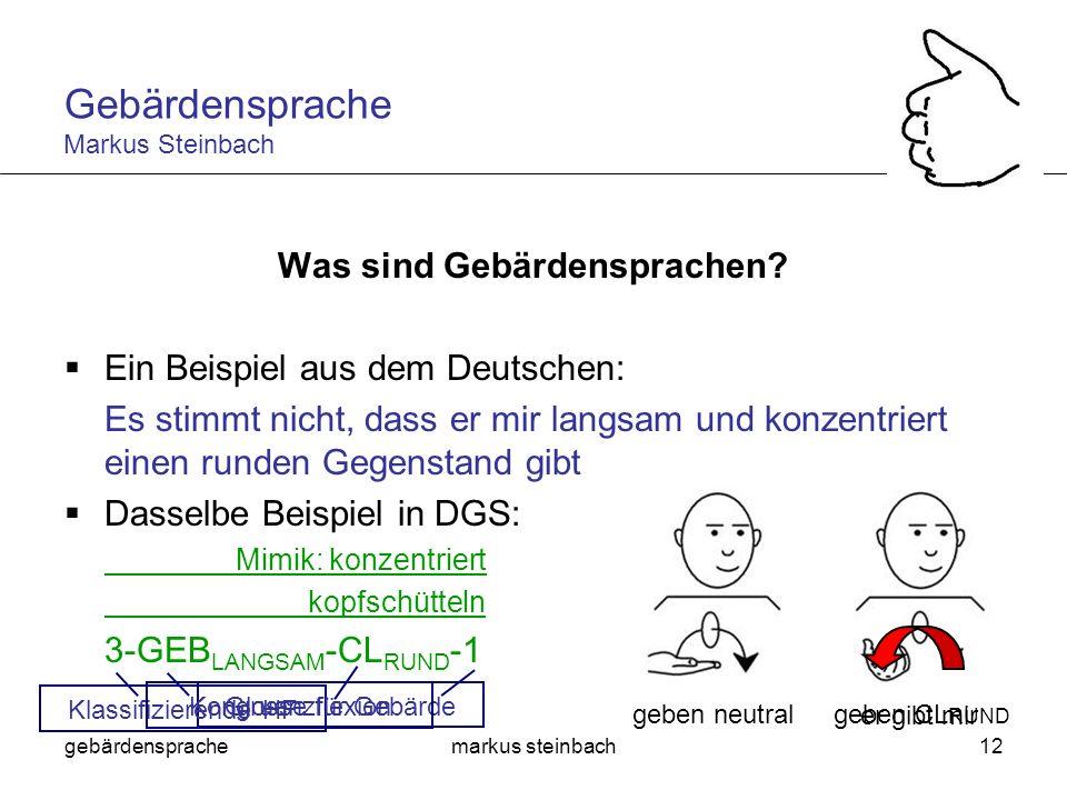 gebärdensprachemarkus steinbach12 Was sind Gebärdensprachen? Ein Beispiel aus dem Deutschen: Es stimmt nicht, dass er mir langsam und konzentriert ein
