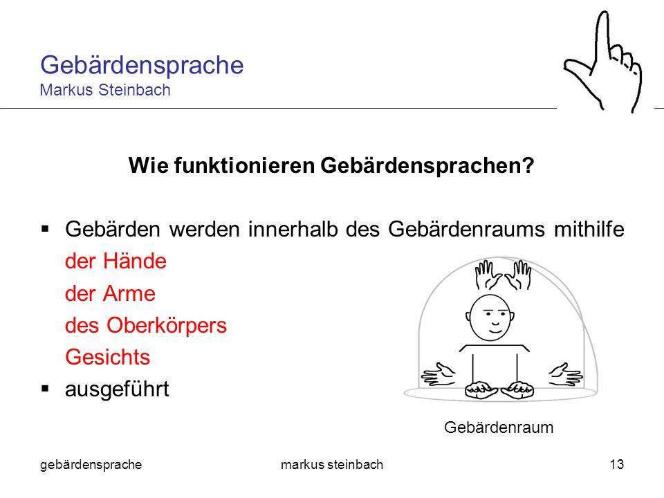 gebärdensprachemarkus steinbach13 Wie funktionieren Gebärdensprachen? Gebärden werden innerhalb des Gebärdenraums mithilfe der Hände der Arme des Ober