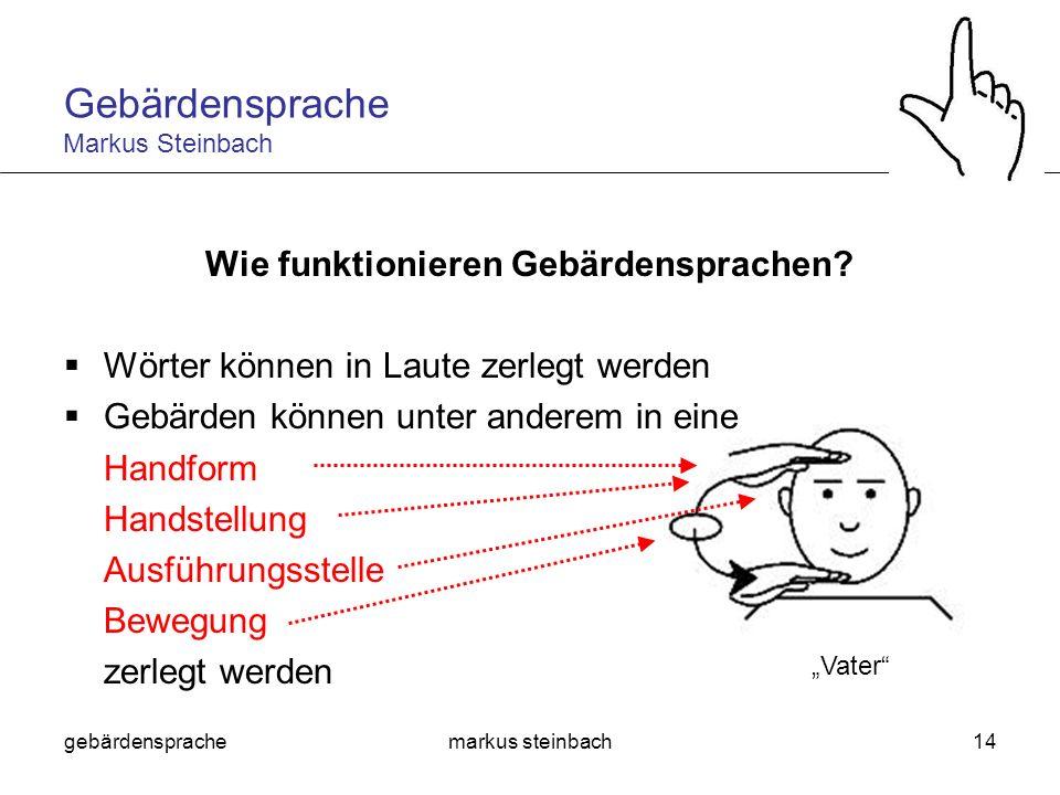 gebärdensprachemarkus steinbach14 Wie funktionieren Gebärdensprachen? Wörter können in Laute zerlegt werden Gebärden können unter anderem in eine Hand