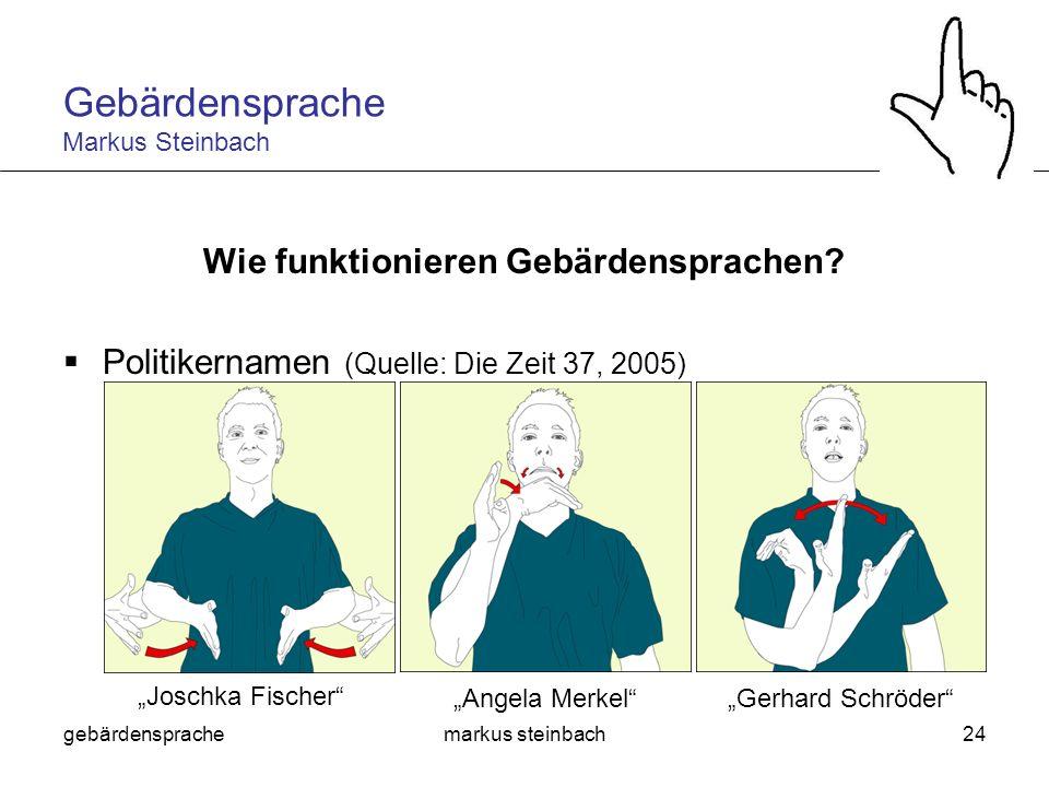 gebärdensprachemarkus steinbach24 Wie funktionieren Gebärdensprachen? Politikernamen (Quelle: Die Zeit 37, 2005) Angela MerkelGerhard Schröder Joschka