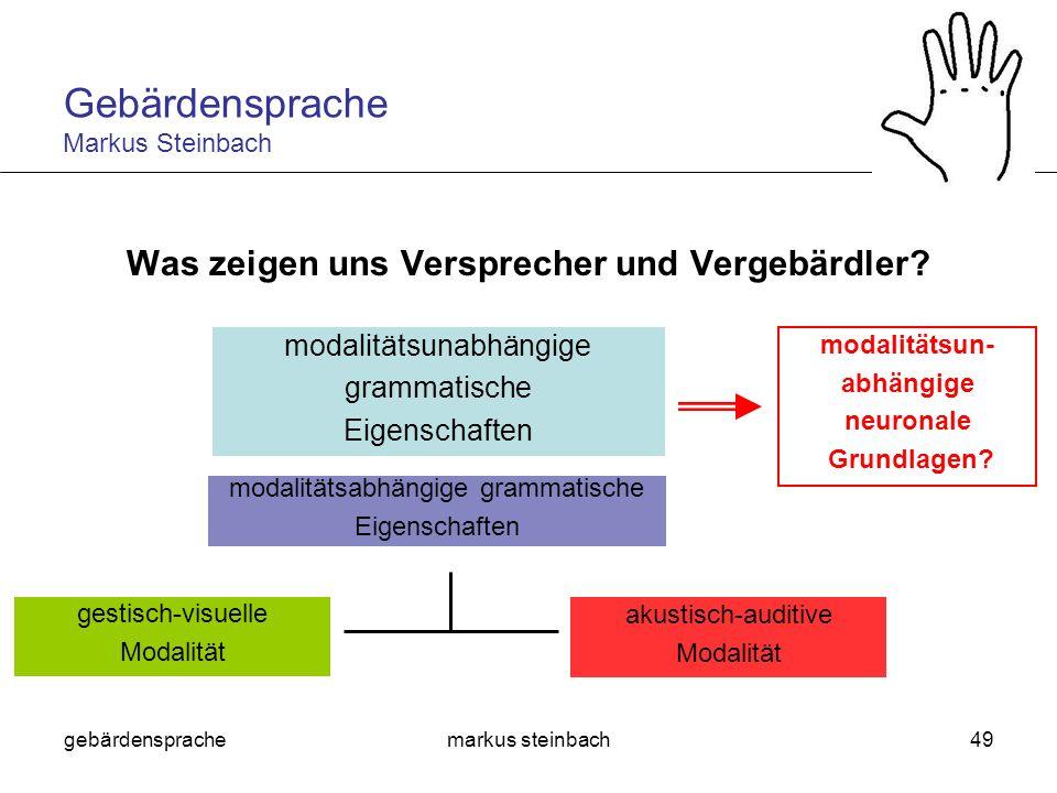 gebärdensprachemarkus steinbach49 Was zeigen uns Versprecher und Vergebärdler? modalitätsunabhängige grammatische Eigenschaften gestisch-visuelle Moda