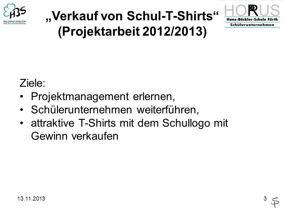 13.11.20133 Verkauf von Schul-T-Shirts (Projektarbeit 2012/2013) Ziele: Projektmanagement erlernen, Schülerunternehmen weiterführen, attraktive T-Shir