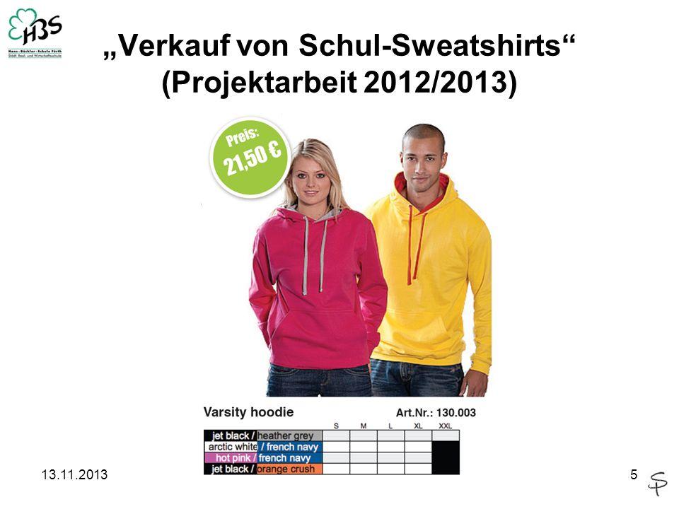 13.11.20135 Verkauf von Schul-Sweatshirts (Projektarbeit 2012/2013)